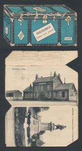 Leporello-AK Solesmes, Ansichten in einer Truhe, L`Hotel de Ville, L`Église, L`Ancienne Abbaye