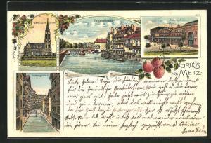 Lithographie Metz, Blick auf Bahnhof, Felsenstrasse, Garnisonskirche und Gerbergraben