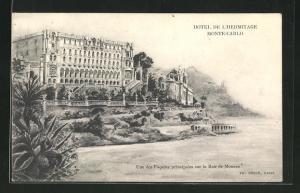 AK Monte Carlo, Hotel de l`Hermitage, Une des Facades principales sur la Baie de Monaco