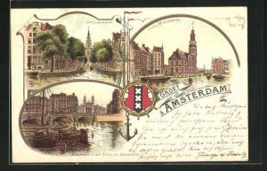 Lithographie Amsterdam, Droenburgwal, Singel Muntgebouw, Blauwebrug met Mozes en Aäronskerk