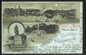 Mondschein-AK Metz, Esplanade mit Justizpalast, Jungfernwehr, Städt. Triebwerke v. d. St. Georgenbrücke
