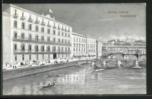 AK Florence, Hotel Italie, Arno mit Ponte Vecchio
