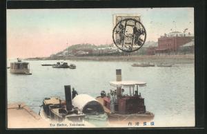 AK Yokohama, The Harbor, Blick auf Fluss mit Schiffen