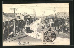 AK Yokohama, Onoecho dor, Strassenbahn und Häuser