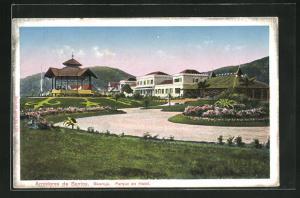 AK Guaruja, Parque Hotel, Auffahrt mit Blumenanlagen