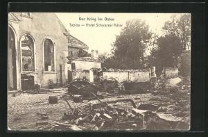 AK Tapiau, Hotel Schwarzer Adler, Ruine, Der Krieg im Osten