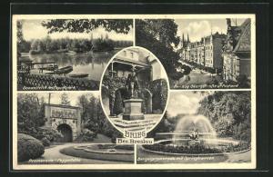 AK Brieg, Bergelpromenade mit Springbrunnen, Promenade-Peppelhöhe, Gondelteich im Peppelpark, Herzog Georgstrasse