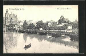AK Königsberg, Schlossteich mit Brücke