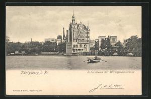 AK Königsberg, Schlossteich mit Weissgerberstrasse