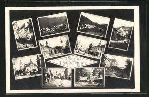 AK Trencianske Teplice, Masarykova Ul., Strassenpartie mit Kirche, Ortsansicht