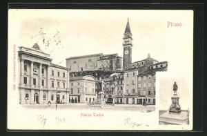 AK Pirano, Piazza Tartini, Denkmal