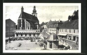 AK Pettau, Strassenansicht mit Kirche und Anlagen