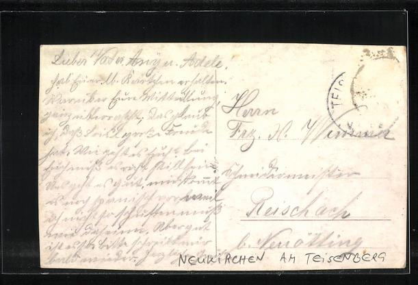 AK Neukirchen am Teisenberg / Bayern, Gesamtansicht mit Kirche und Gebirge 1