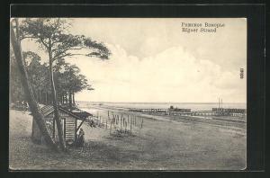AK Riga, Strand mit Stegen und Blick aufs Meer