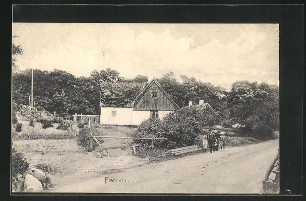 AK Farum, Blick auf Haus mit Reetdach 0