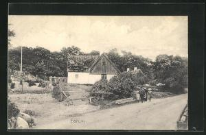 AK Farum, Blick auf Haus mit Reetdach