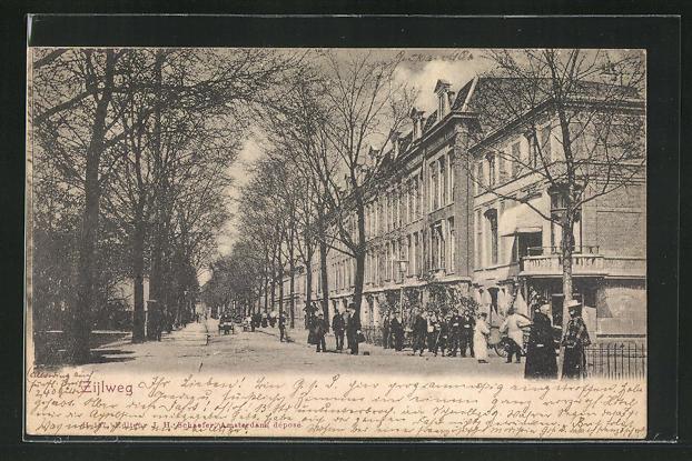 AK Haarlem, Zijlweg, prächtige Häuserfassaden 0