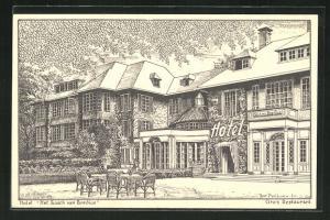 Künstler-AK Naarden, Hotel Het Bosch van Bredius, Gartenrestauration