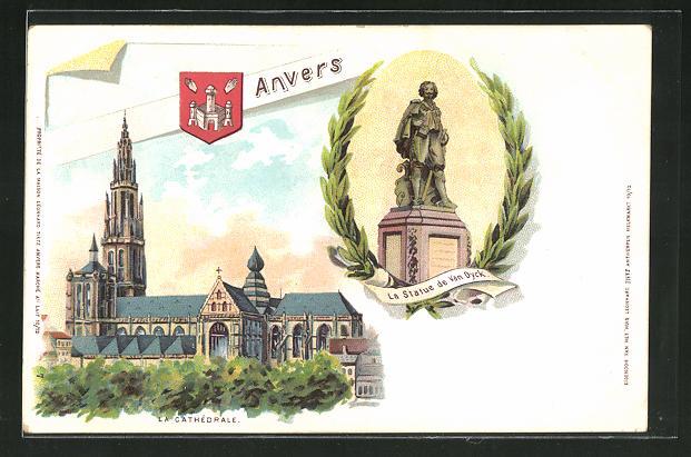 Lithographie Anvers, La Cathedrale, La Statue de Van Dyck, Wappen 0