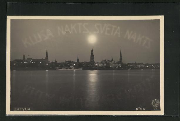 AK Riga, Blick vom Meer auf Stadt mit Kirchtürmen bei Vollmond 0