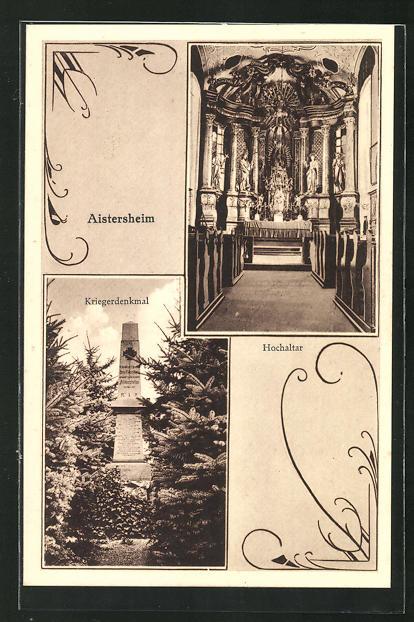 AK Aistersheim, Kriegerdenkmal, Hochaltar 0