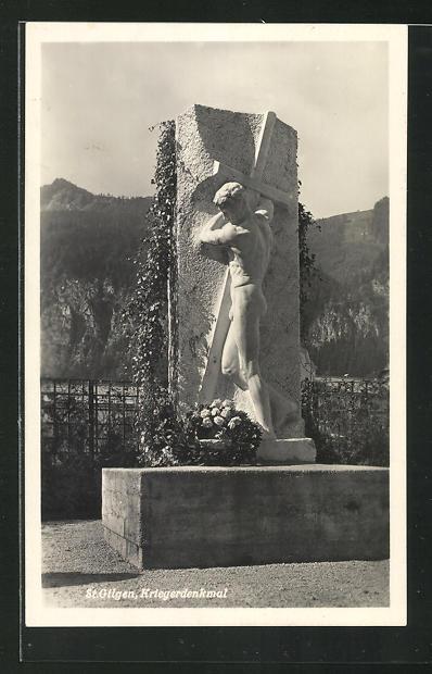 AK St. Gilgen, Kriegerdenkmal mit Kranz 0