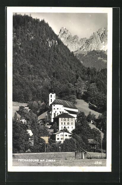 AK Tschagguns, Blick auf Kirche und Häuser mit Zimba 0