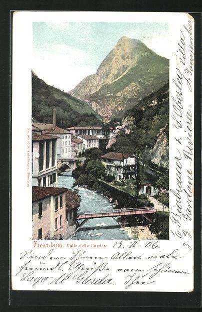 AK Toscolano, Valle delle Cartiere, Blick auf Brücke über Fluss und Berg 0