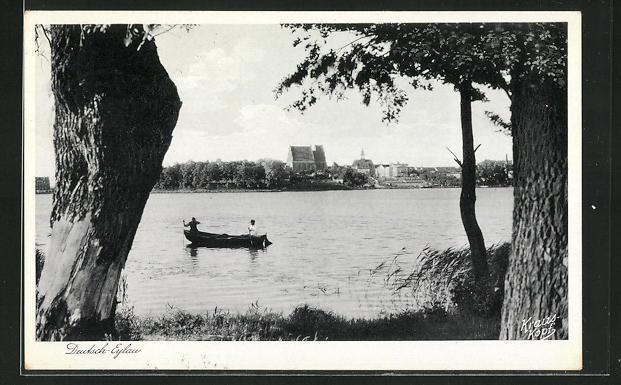 AK Deutsch Eylau / Ilawa, Blick übers Wasser auf die Stadt 0