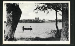 AK Deutsch Eylau / Ilawa, Blick übers Wasser auf die Stadt