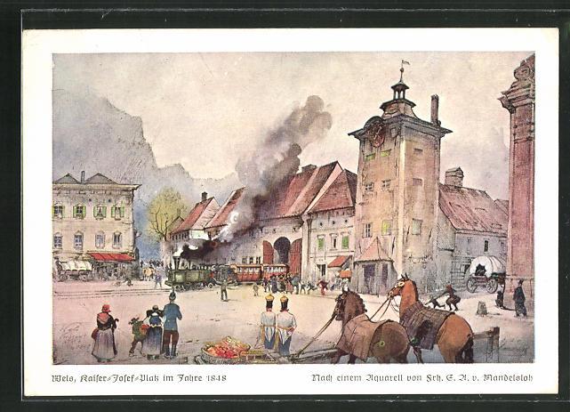 Künstler-AK Wels, Kaiser-Josef-Platz im Jahre 1848 0