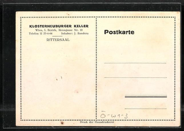 AK Wien, Gasthaus Klosterneuburger Keller, Renngasse 10, Rittersaal 1