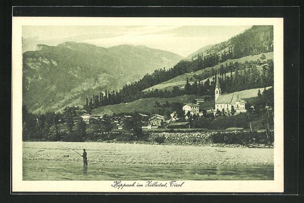 AK Hippach im Zillertal, Panorama mit Angler 0