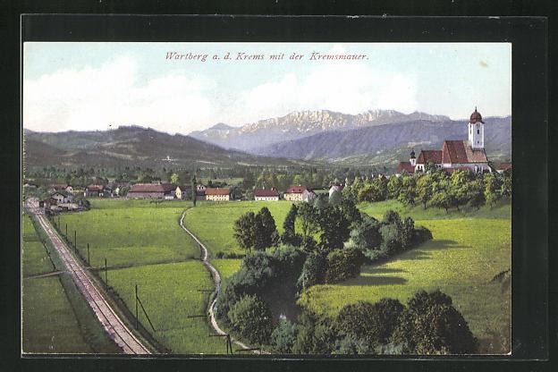 AK Wartberg a. d. Krems, Panorama mit der Kremsmauer 0