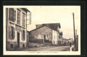 AK Golbey, La Poste et rue d`Epinal