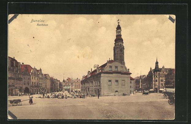 AK Bunzlau, Partie am Rathaus 0