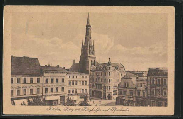 AK Ratibor, Ring mit Ringkaffee und Pfarrkirche 0