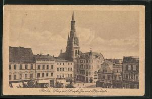 AK Ratibor, Ring mit Ringkaffee und Pfarrkirche