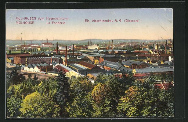 AK Mulhouse, Panorama vom Hasenrainturm, Eis. Maschinenbau-A.-G. 0