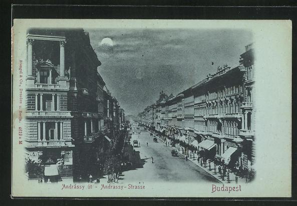 Mondschein-AK Budapest, Andrassy Strasse 0