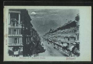 Mondschein-AK Budapest, Andrassy Strasse