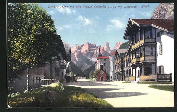 AK Landro, Ortspartie mit Monte Cristallo 0