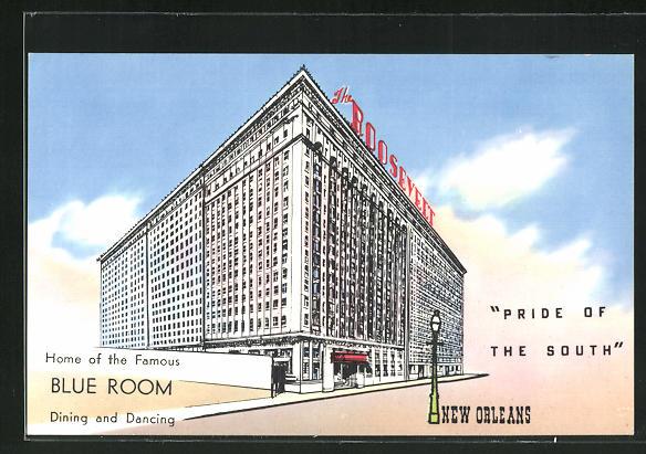 Künstler-AK New Orleans, LA, Rosevelt Hotel, Home of the Famous Blue Room Dining and Dancing 0
