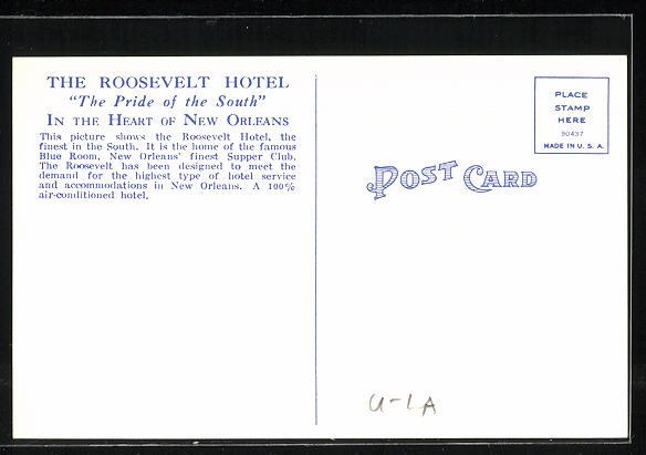 Künstler-AK New Orleans, LA, Rosevelt Hotel, Home of the Famous Blue Room Dining and Dancing 1