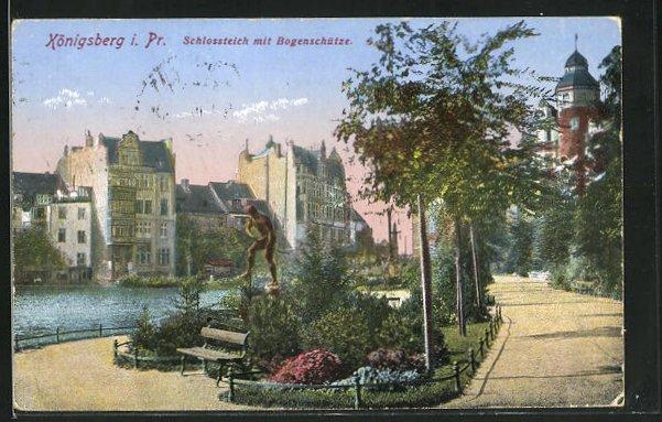AK Königsberg, Schlossteich mit Bogenschütze 0