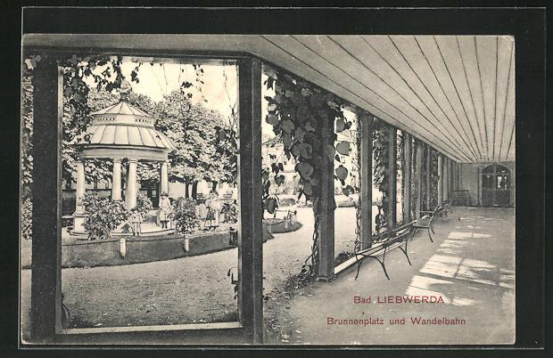 AK Bad Liebwerda / Lazne Libverda, Brunenplatz und Wandelbahn 0