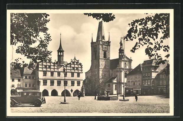 AK Leitmeritz / Litomerice, Stara radnice a mestsky kostel 0