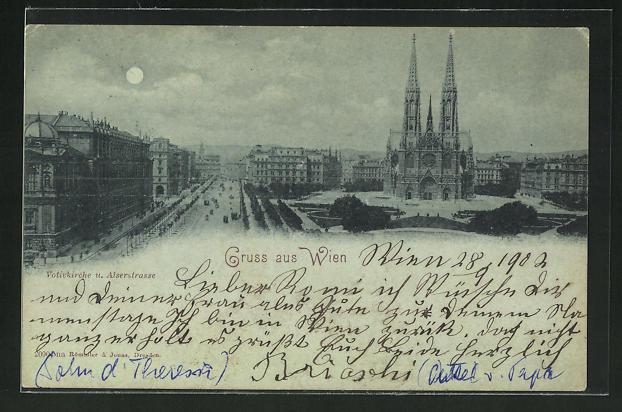 Mondschein-AK Wien, Votivkirche und Alserstrasse 0