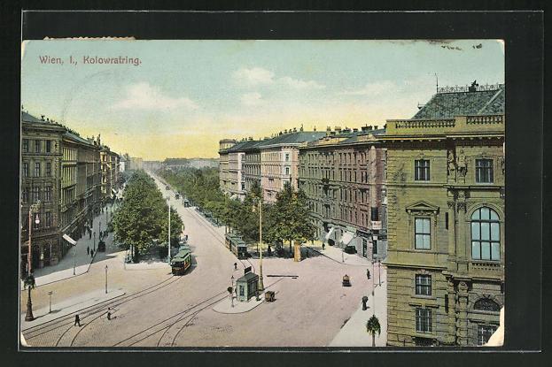 AK Wien, Kolowratring mit Strassenbahn 0