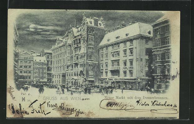 Mondschein-AK Wien, Neuer Markt mit dem Donnerbrunnen 0